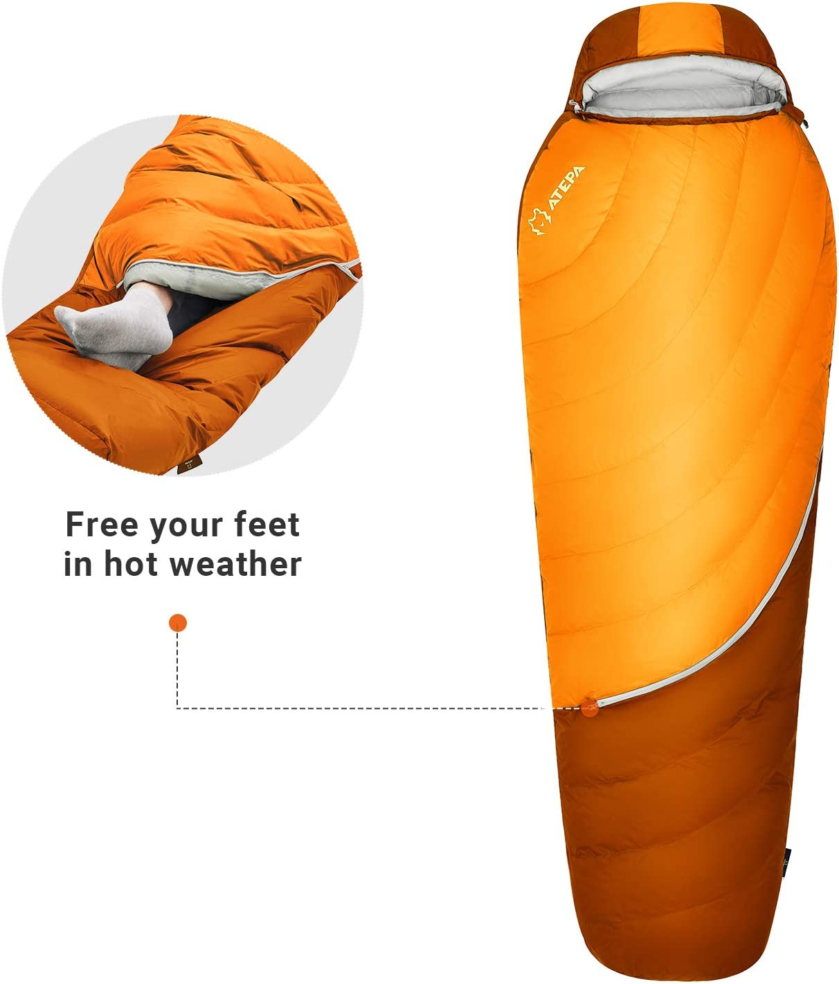 ATEPA 0 Degree Down Sleeping Bag 650 FP Cold Weather Lightweight Backpacking 4 Season Waterproof Sleeping Bag with Compression Bag /& Mesh Storage for Adult Women,Youth XL /& Regular Size Men