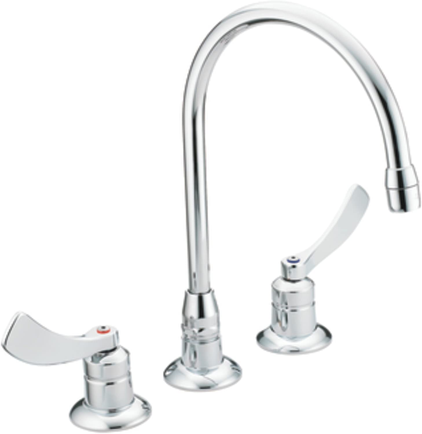 Moen 8225sm Commercial M Dura Widespread Kitchen Faucet With 4 Inch Smooth Wrist Blade Handles And 8 Inch Spout Reach 2 2 Gpm Chrome Touch On Kitchen Sink Faucets Amazon Com