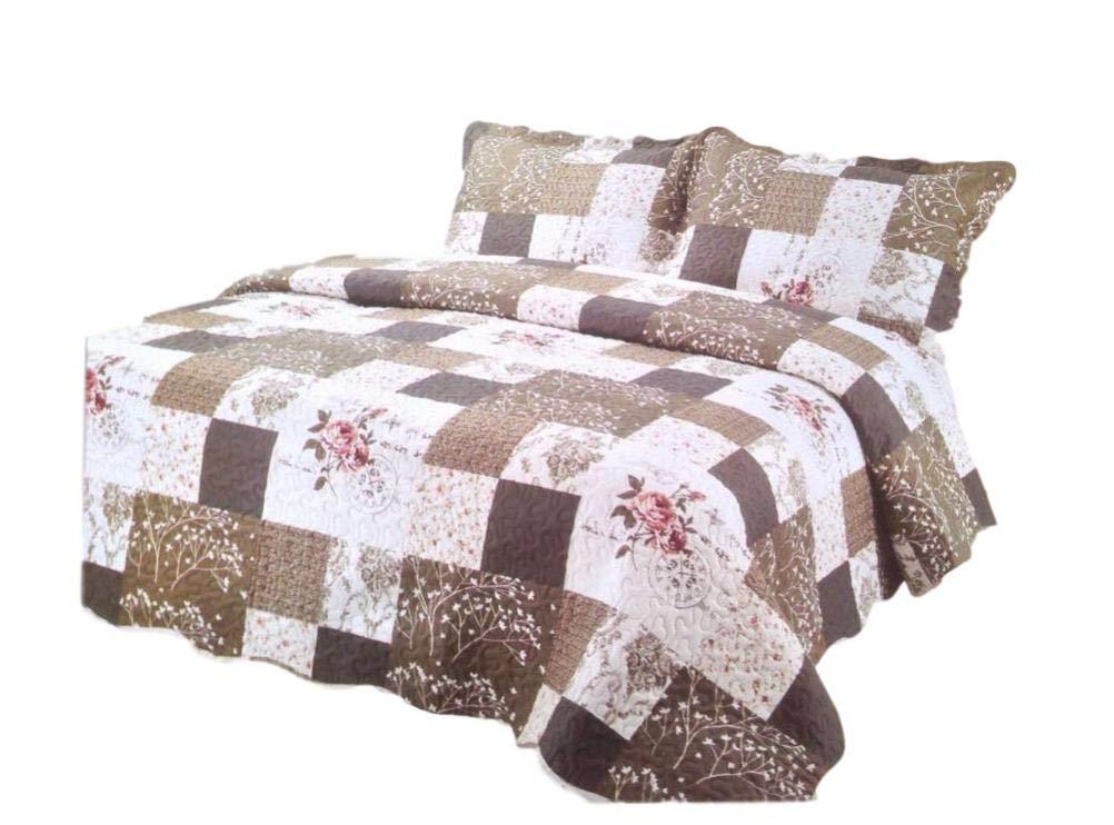 Pinsonic Plaid Bedding 3 Piece Bedspread Quilt Coverlet Set (King, Better Patterns) 965