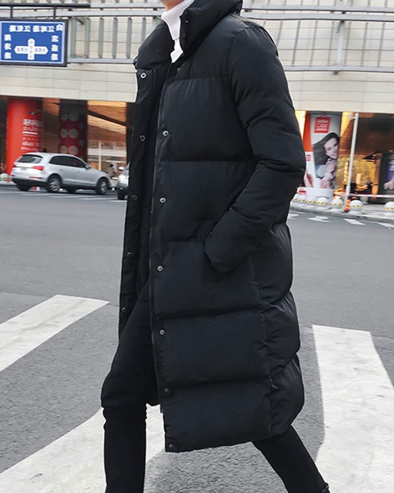 Yonglan Uomo Inverno Lungo Piumino Stand Collare Addensare Caldo Trapuntata Cappotto Gi/ù Giacca Plus Size
