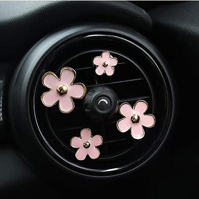 INEBIZ Car Charm Beautiful Daisy Flowers Air Vent Decorations Cute Automotive Interior Trim, 4 pcs with Different Sizes (Pink): Automotive