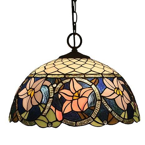 FABAKIRA Lampadari Vintage Stile Tiffany 16 Pollici Antico Pastorale Di  Invertito Soffitto Lampadario a Sospensione Light Fixtures Per Soggiorno  Pranzo