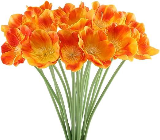 Amazon Com Ho2nle 20pcs Realistic Pu Artificial Poppies Flowers