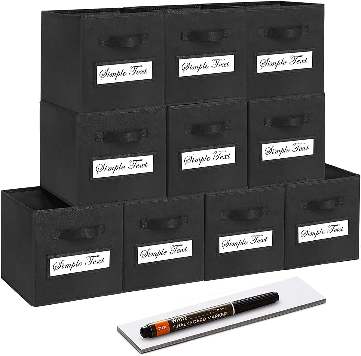 artsdi Set of 10 Storage Cubes, Foldable Fabric Cube Storage Bins with 10 Labels Window Cards & a Pen, Collapsible Cloth Baskets Containers for Shelves, Closet Organizers Box for Home &Office,Black
