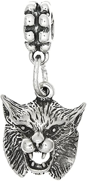 LGU Sterling Silver One Sided Bobcat Head Necklace