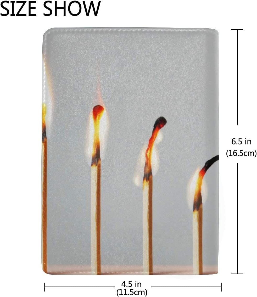 Womans Passport Cover Isolated Flames Burning Matches Stylish Pu Leather Travel Accessories Leather Passport Holder Cover Case For Women Men