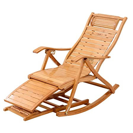 Bambou Inclinable Rocking En Chair Chaise Réglable Lounge Ybfv6gy7