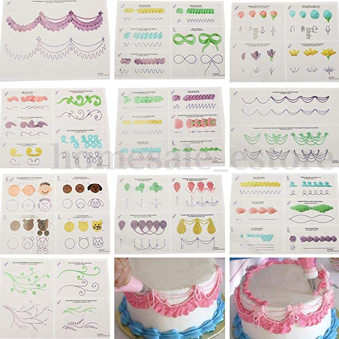 23 Sheets Cake Decorating Practice Board Icing Practicing Sugarcraft Tool A3E8