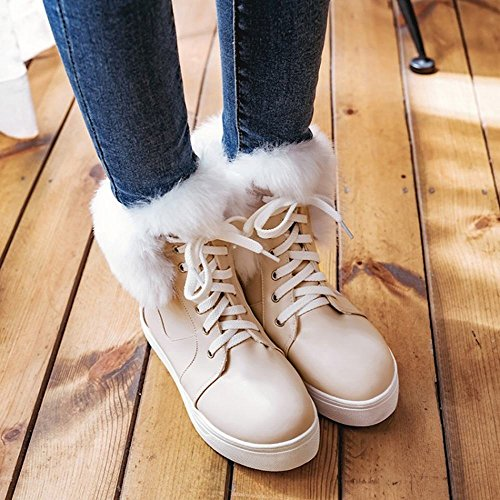 Up Winter Fur Carolbar Women's Boots Beige Cosplay Sweet Lace Lolita Faux Snow nwn1qE8Y
