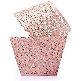 YOZATIA Vine Cupcake Wrappers, 60PCS Lace Cupcake Liners for Regular Sized Cupcake (Pink)