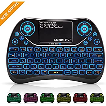 Mini Wireless Keyboard, Remote Keyboard with Multimedia Keys, 2.4GHZ USB Rechargable Android Remote for TV Box, Mini Keyboard for Smart TV ,IPTV,PS4,PC
