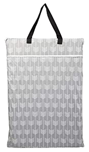 Large Hanging Wet/Dry Cloth Diaper Pail Bag for Reusable Diapers or Laundry (Arrow)