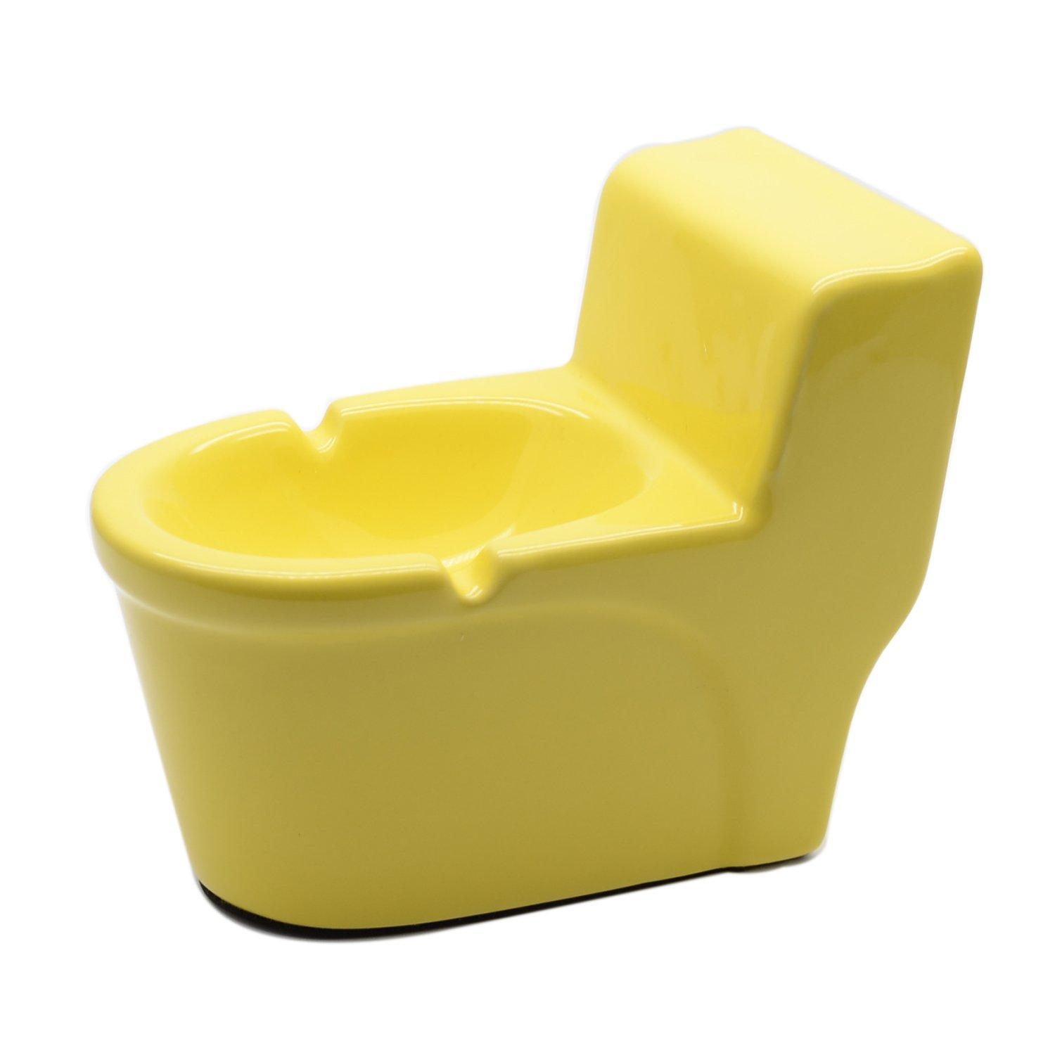 TOWOMO Creative Closestool Shape Ceramic Cigarette Ashtray (Yellow)