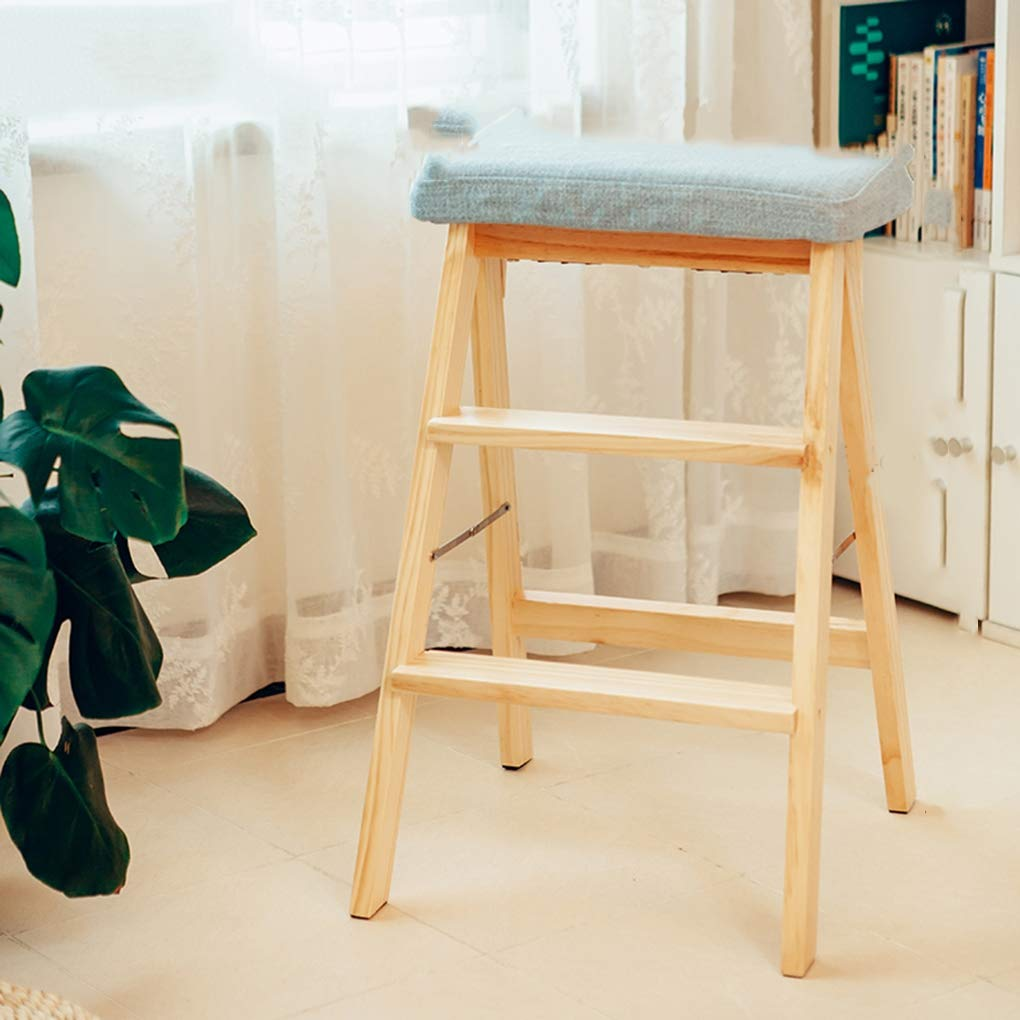 B Foldable Step Stool,Home Kitchen Use Wooden Ladder Simple Chairs Save Space Ladder Small Stool Fold Up Small Stool Bench(Wooden color),A