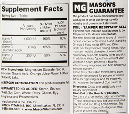 Mason Vitamins Healthy Kids Cod Liver Oil and Vitamin D, Tasty Chewable Orange Flavor, 100 Tablets per Bottle Pack of 4 Total 400 Tablets