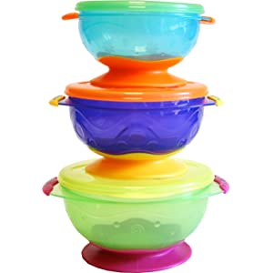 Nuby Stackable Suction Bowl with Lid (Pack of 3, Multi-Coloured)