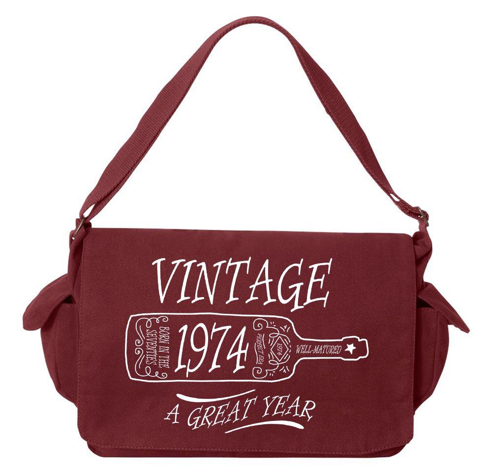 Tenacitee Aged Like a Fine Wine 1974 Maroon Brushed Canvas Messenger Bag