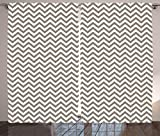 Ambesonne Chevron Curtains, Grey and White Zig Zag Lines Striped Pattern Modern Design Artistic Print, Living Room Bedroom Window Drapes 2 Panel Set, 108 W X 90 L Inches, Warm Taupe White For Sale