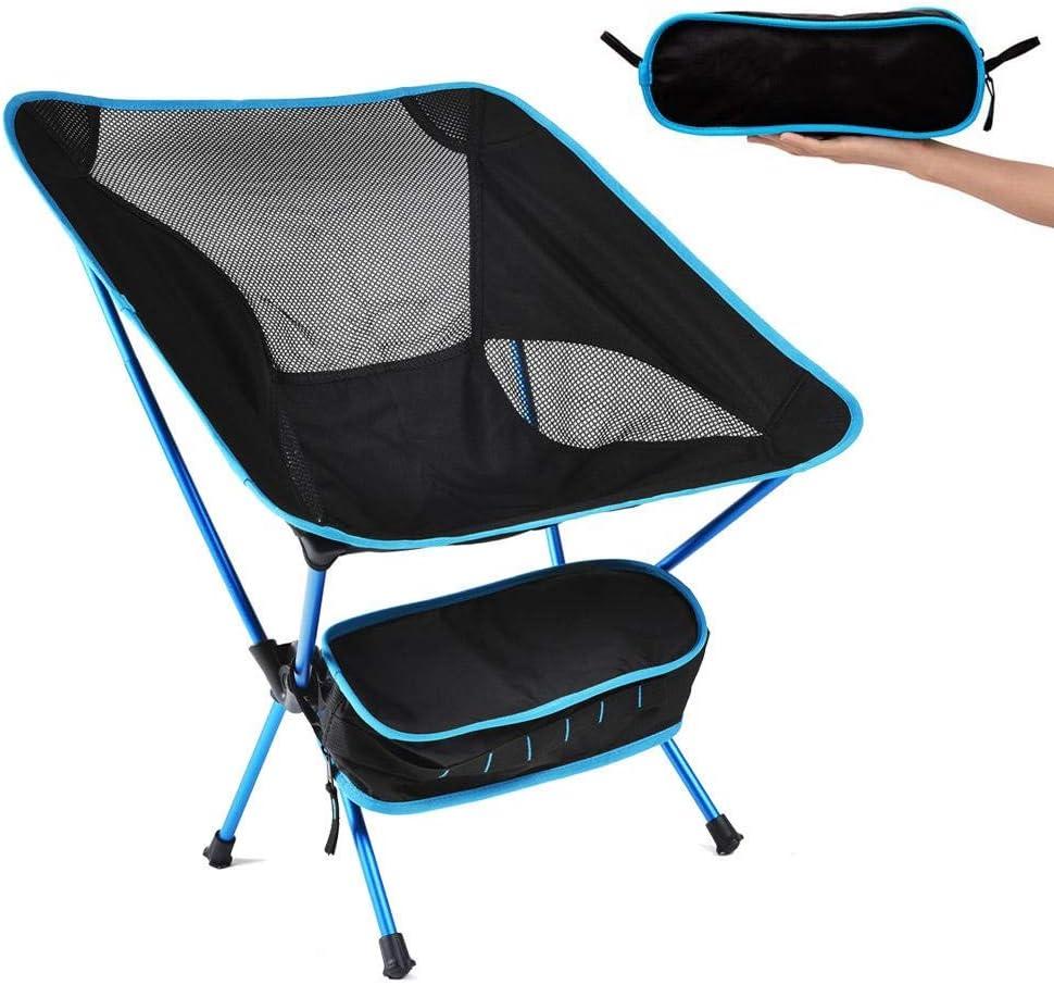 Vobajf Silla Plegable Silla Plegable portátil Beach Asiento de heces al Aire Libre Ultraligero Camping Silla Plegable Gabinete Comedor (Color : Azul, Size : One Size)