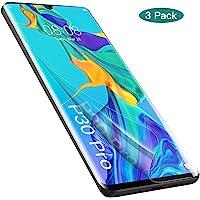 GeeRic Protector de Pantalla Compatible con Huawei P30 Pro (Paquete de 3) Protector de Pantalla Suave para Huawei P 30 Pro [Cobertura Completa] HD Clear Anti-Bubble Anti-Scratch
