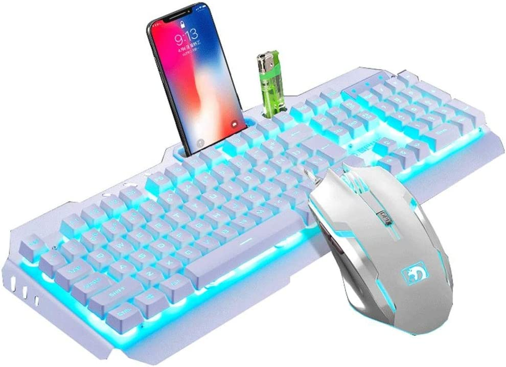 JINXUXIONGDI Mechanical Keyboard and Mouse Set Combination Game Notebook Home Desktop Computer Wired Backlight Typing Office Keyboard Black Mixed Light Color : Blue axis