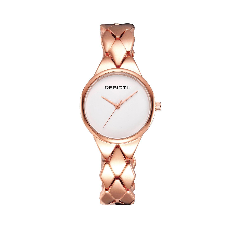 Amazon.com: Reloj de cuarzo Rose Gold Señoras Pequeña Esfera ...