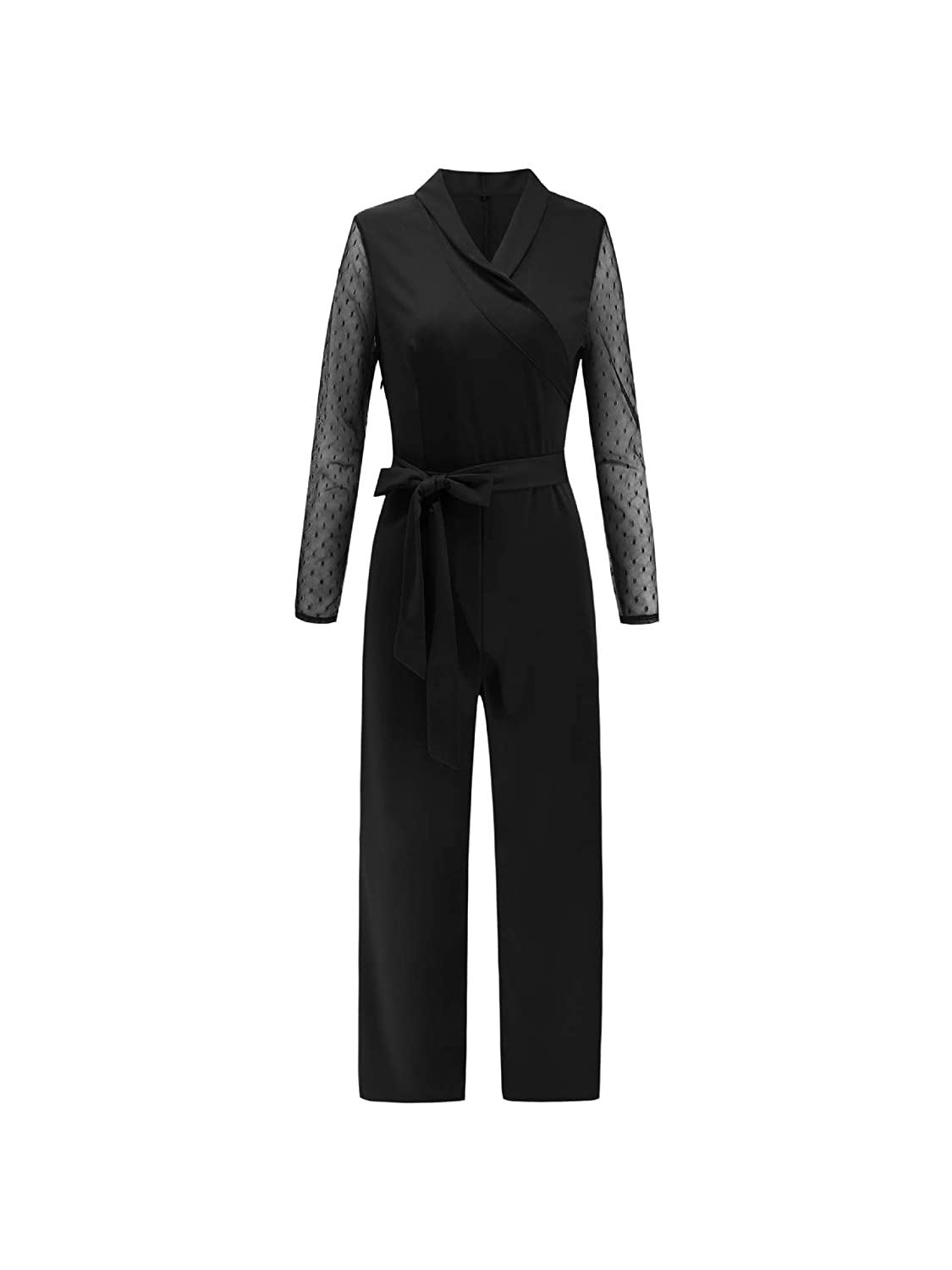 Comaba Womens Straps Oversize Bodycon V Neck Commute Jumpsuit Playsuit