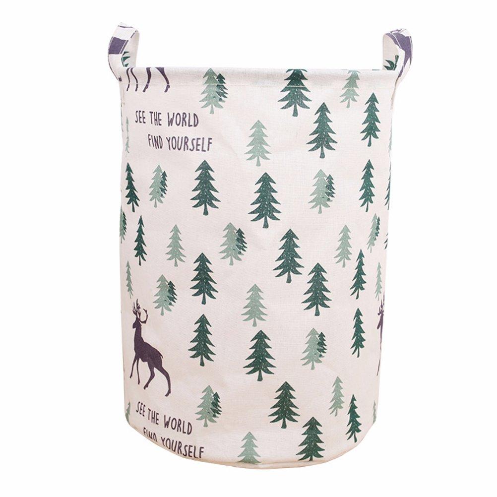 Yiuswoy Large Collapsible Laundry Hamper Cotton Linen Washing Bin Waterproof Round Storage Basket for Kids Toys - Deer