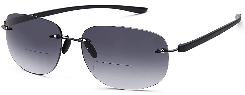fa31eba9577 Amazon.com  VVDQELLA Rimless Reading Glasses Women   Men Bifocal 2.5 Tinted  with Case   Pouch 2.50 Level Magnification Read Sun Glasses UV Protevtuion  ...