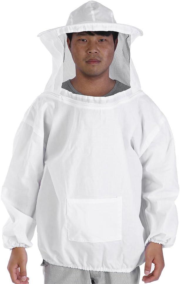 ViaGasaFamido Ropa Protectora de Algodón de Cuerpo Entero de Abeja, Traje de Apicultor Profesional Equipo de Chaqueta Equipo de Vestir y Pantalones de Necesidad de Jardín, Blanco