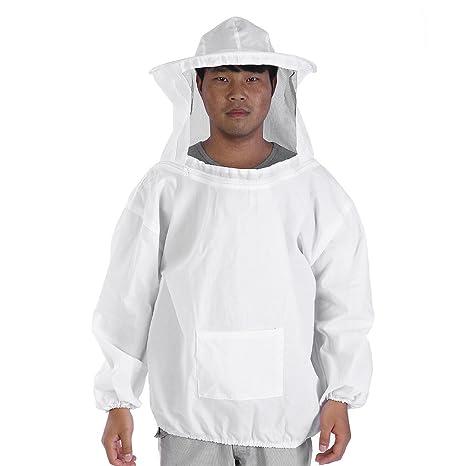 Zerodis Traje de abeja profesional Apicultura chaqueta con apicultor Sombrero y velo Apicultura traje de protección Algodón blanco
