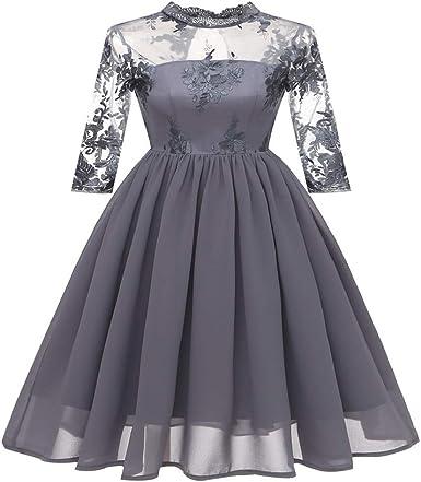 Vestido de Coctel Retro Manga Corta Elegante hembraManga