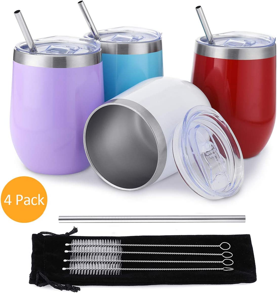 Comfook 4 Pack 12OZ Stainless Steel Wine Tumbler, Stemless vacuum Insulated Wine Glasses with Straws Set and Spill Proof Lid for Parties, Bars,Home, Work, Travel