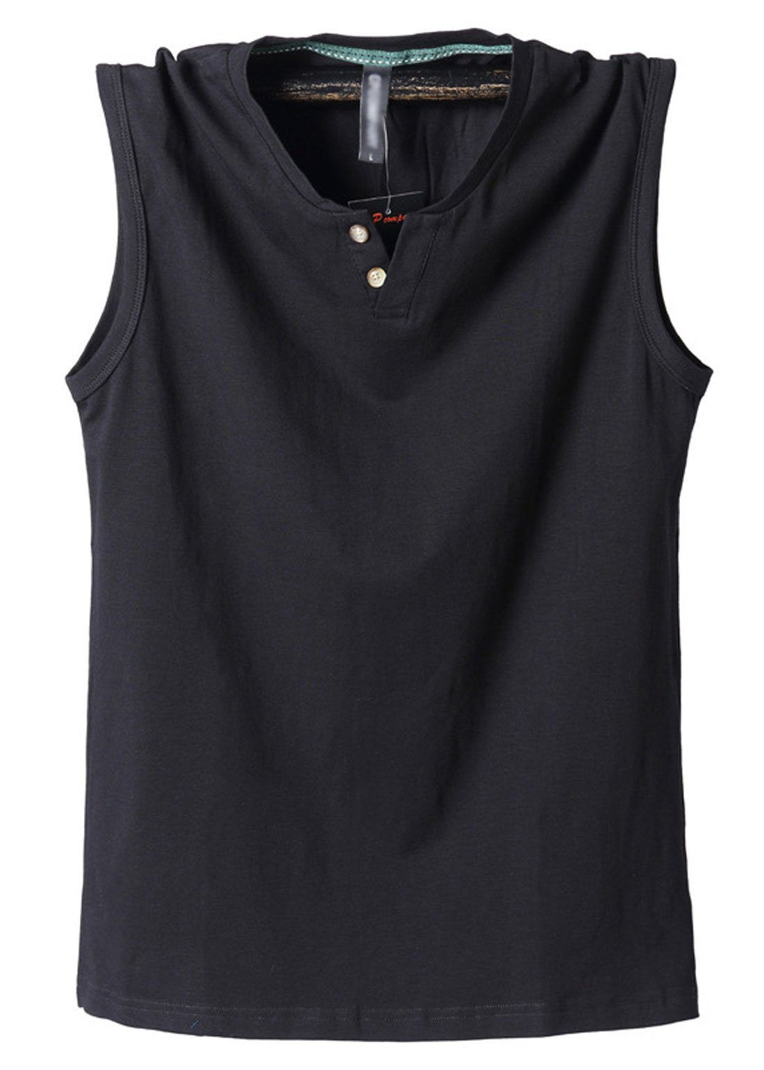 Chartou Men's Skin-Friendly Sleeveless Stretchable Sport Fitness Henley T Shirts Waistcoat (Large, Black)