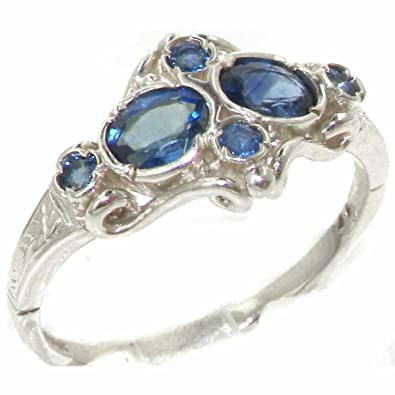 Solid English Sterling Silver Natural Blue Sapphire Vintage Style Ring jU073