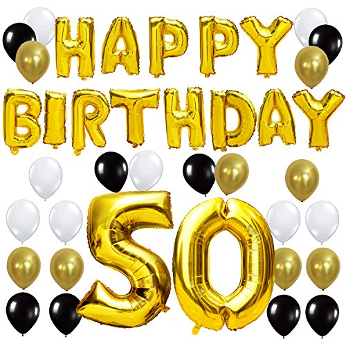 "Happy 50th Birthday Balloon - KUNGYO 50TH Birthday Party Decorations Kit - Happy Birthday Balloon Banner, Number ""50"" Balloon Mylar Foil, Black Gold White Latex Ballon, Perfect 50 Years Old Party Supplies"