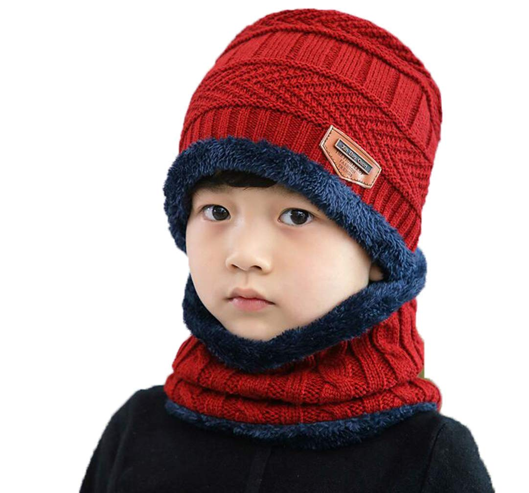 Unisex Kids Children Winter Hats and Scarf Set Thicken Warmer Knitted Fleece Lined Beanie Hat Cap and Scarf Neck Warmers Neckerchief Kids Slouchy Skull Cap for Ski Cycling Outdoor Sports Wear (Blue) Ericotry