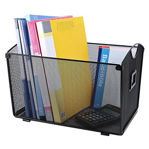 CRUODA Mesh Desktop Tub File Sorter Tray Organizer, Black, for Documents, Magazines, Notebooks (Mesh Black Magazine)