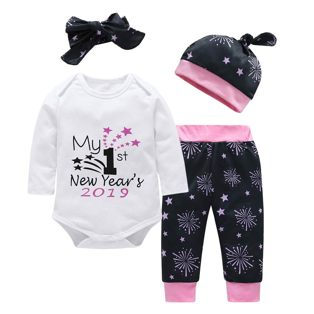Chinatera Baby Boys Girls Clothes New Year 2019 Romper+Pants+Hat+Headband Outfit Set