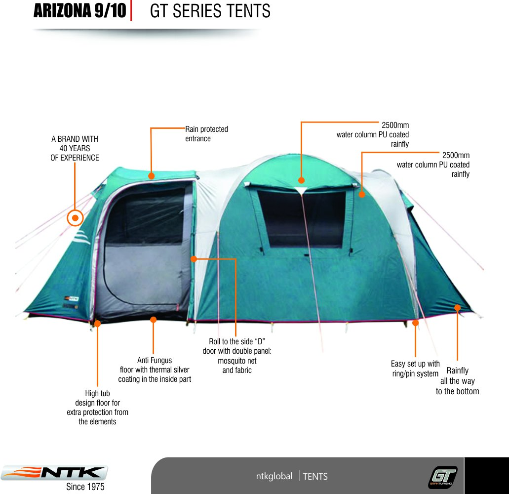 Amazon.com  NTK Arizona GT 9 to 10 Person 17.4 by 8 Foot Sport C&ing Tent 100% Waterproof 2500mm  Sports u0026 Outdoors  sc 1 st  Amazon.com & Amazon.com : NTK Arizona GT 9 to 10 Person 17.4 by 8 Foot Sport ...