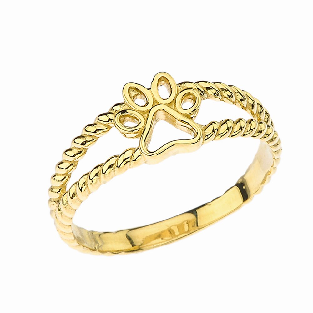Elegant 10k Yellow Gold Openwork Dog Paw Print Double Rope Ring (Size 10.75)