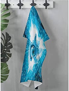 Art Towel Astronaut,Space Man Diving Into The Core Various Geometric Shapes and Triangle Space Adventures, Blue,W12 xL12 Cooling Towel for Dogs