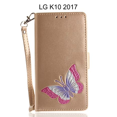 half off 1c3ce b6242 Bangcool LG K10 2017 Wallet Case Fashionable Butterfly Printing Flip Cover  for LG K10 2017 with Card Slot