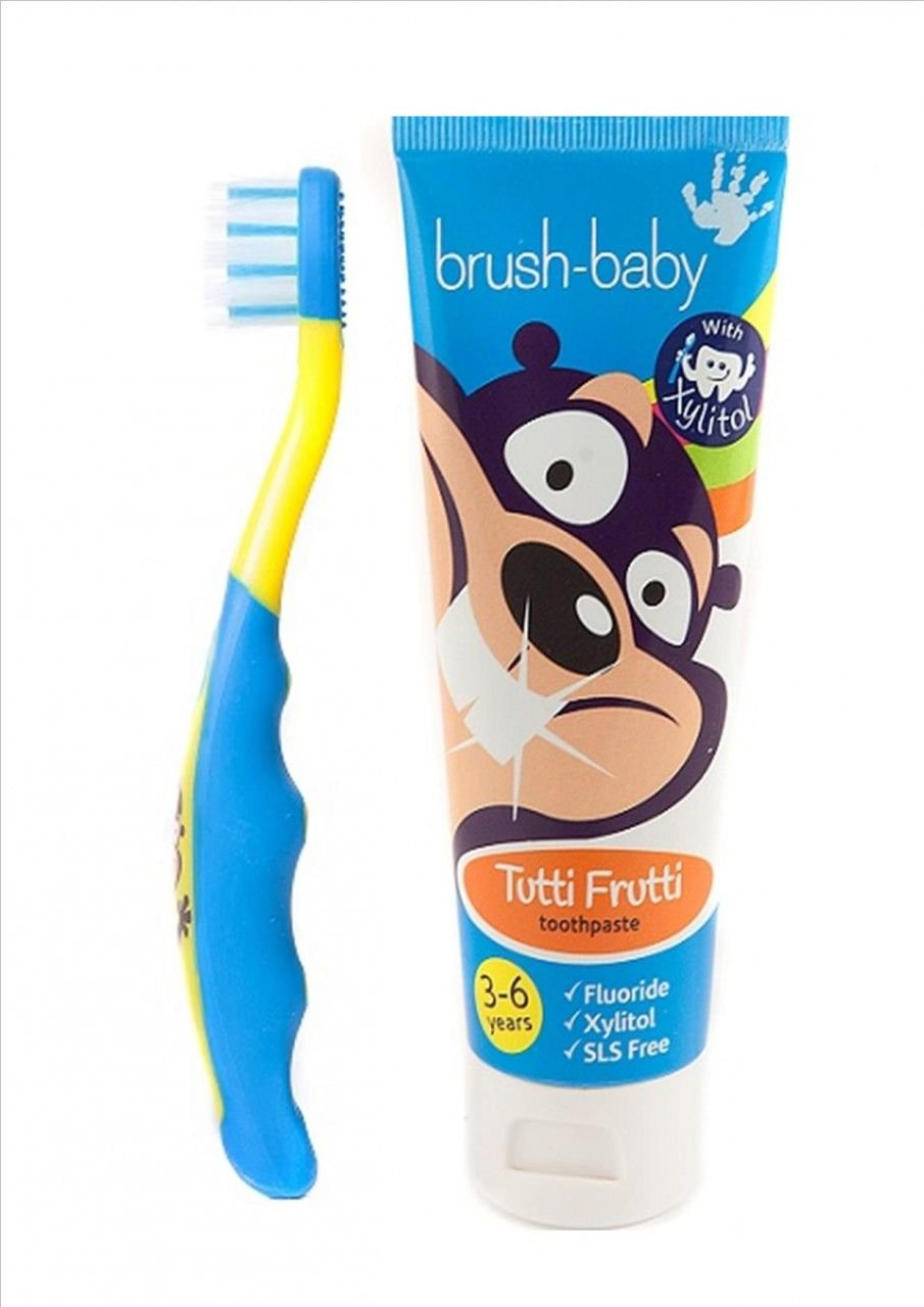 Brush-Baby Children's dental set BLUE - FlossBrush AND Toothpaste BrushBaby Ltd BRB026 BRB061