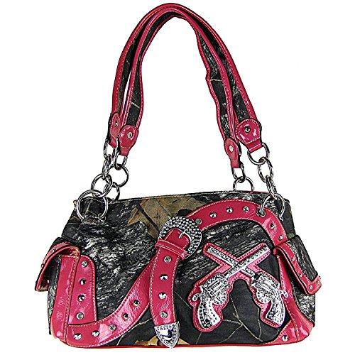(Mossy Camo Rhinestone Pistols Buckle Shoulder Handbag Hot Pink)