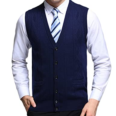 Zhhlinyuan Mens Mens Father Sleeveless V Neck Wool Knitted Vest