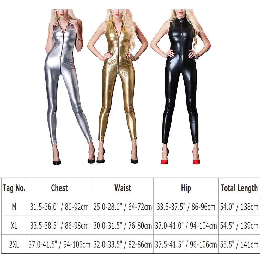 IWEMEK Women Shiny Metallic Catsuit Faux Leather Zipper Jumpsuit Pants Clubwear