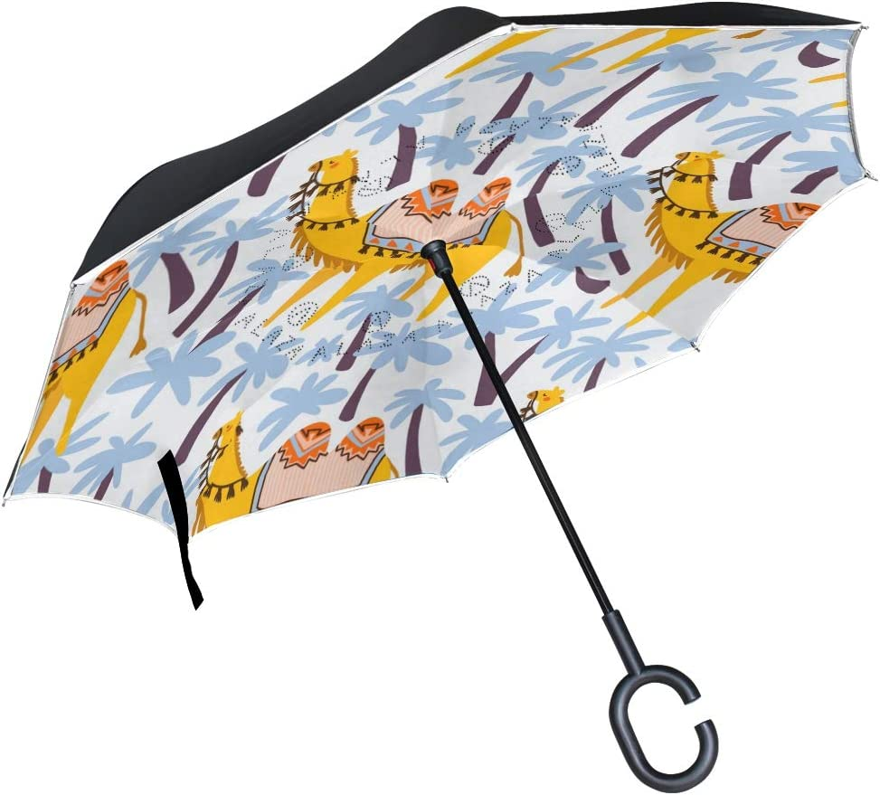 ATONO Camels And Palm Tree Animals Of The African Desert Bright Hand-Drawn Double Layer Inverted Reverse Folding Stick Umbrellas Windproof Anti-UV C-Shaped Handle for Car Rain Outdoor