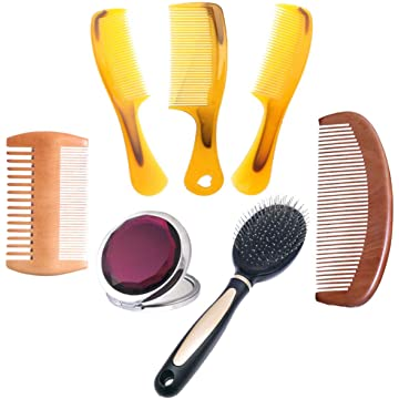 7 Pcs The Family Of Hair Comb - Wood with Anti-Static & No Snag Handmade Brush for Beard,Travel Makeup Mirror.