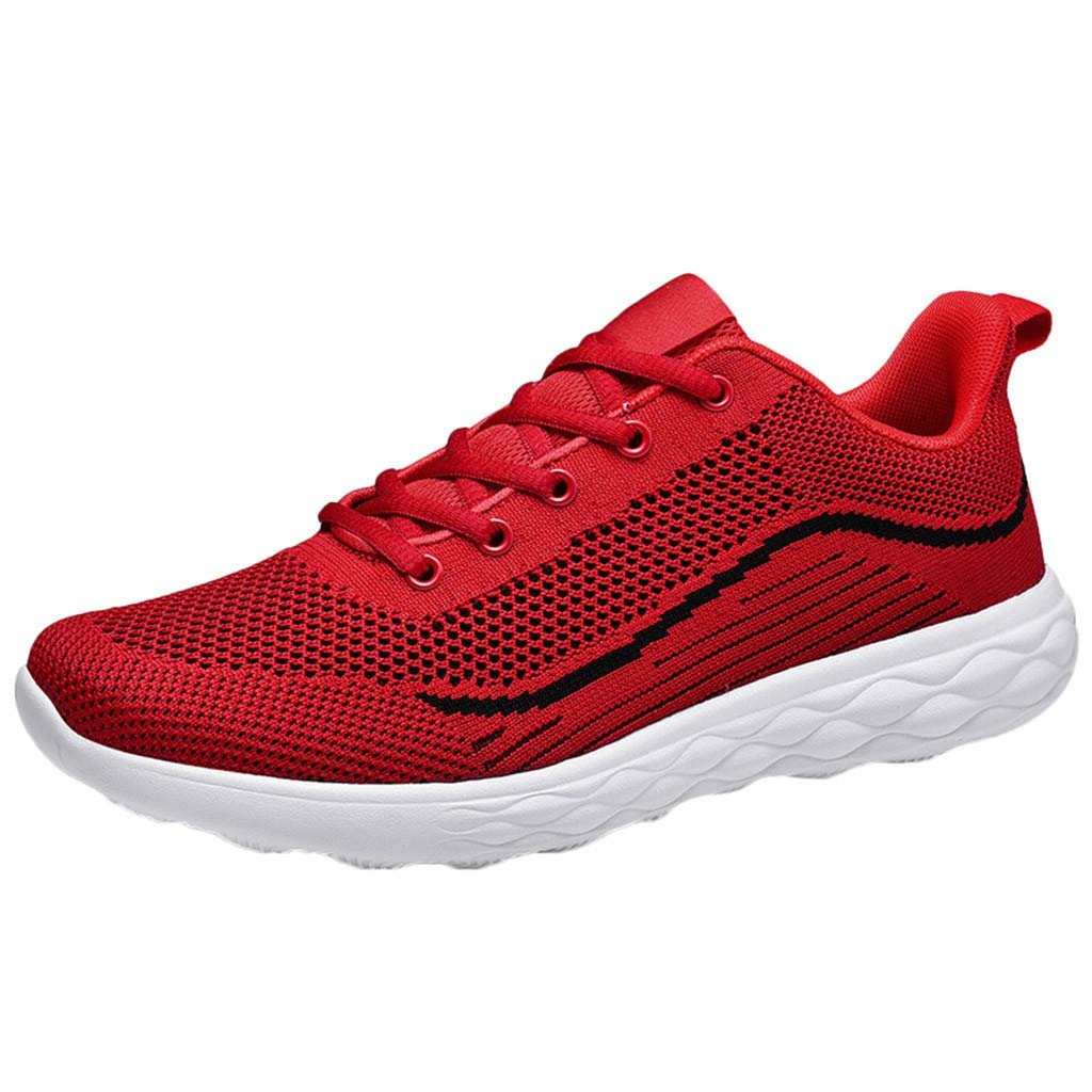 refulgence Men's Mesh Breathable Walking Shoes Casual Lightweight Lace up Sneaker Jogging Shoes(Red,US:9) by Refulgence